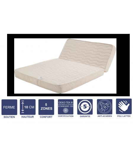 Matelas Ferme Pour tous BZ- 10 cm - Découpe Assise 60 cm - 5 zones de Confort - Noyau Poli Lattex HR Dernière Génération - Très