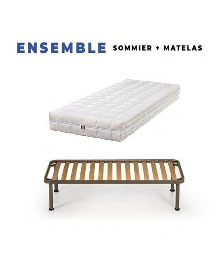 Matelas + Sommier Démonté + Pieds + Oreiller Mémoire + Protège Matelas Offerts Mousse Indéformable - Soutien Ferme - Déhoussabl