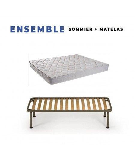Matelas Tissu Ignifuge + Sommier Démonté + Pieds Offerts - Hauteur 15 cm - Confort Ferme - Mousse Extrêmement Durable Poli Latt
