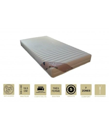 Matelas + Alèse 19,5 cm Très Ferme - Spécial Sommier Electrique - Déhoussable Housse Lavable - 7 Zones de Confort - Ame Poli La